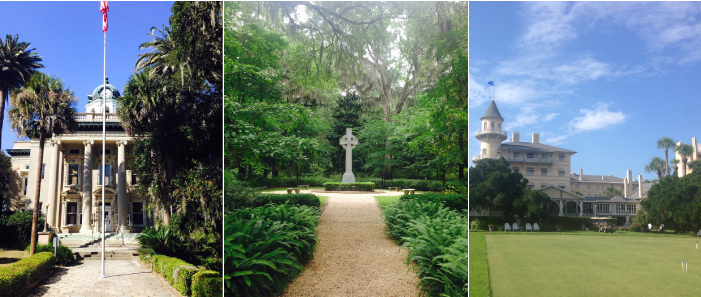 The Brunwick Courthouse; John Wesley Memorial Garden; Jekyll Island Club Hotel